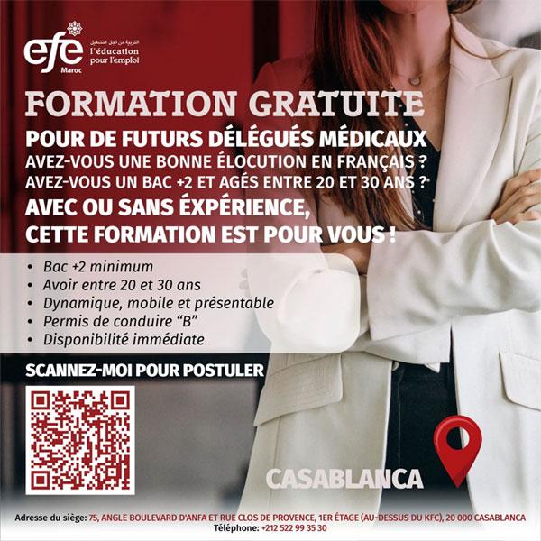EFE Maroc propose une Formation Gratuite pour de Futurs Délégués Médicaux