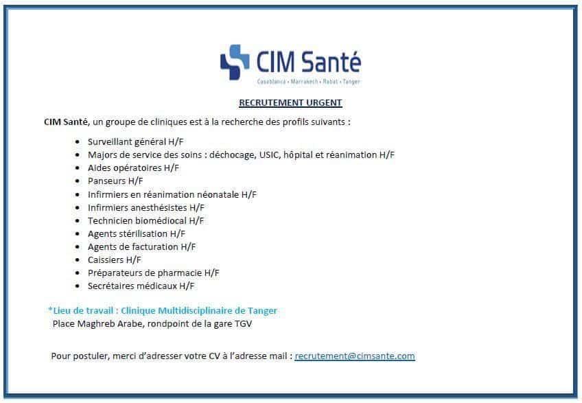 Le Groupe CIM Santé recrute Plusieurs Profils sur Tanger